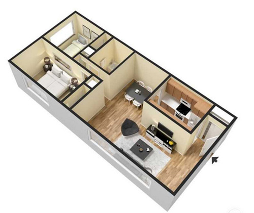 two bedroom apartment - 850 sq ft